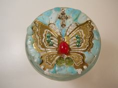 Golden Butterfly Trinket Jar OOAK / Handmade with Old Jewelry / Chaos to Christ Item by PiccoloPattys on Etsy