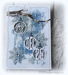 Tim Holtz/Sizzix Circle Words Thinlits and Branches BigZ die Christmas Cards To Make, Christmas Tag, Xmas Cards, Handmade Christmas, Holiday Cards, Christmas 2019, Atc Cards, Nordic Christmas, Snowflake Images