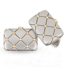 Anatoly Cufflinks - Fabergé cufflinks featuring round white diamonds set in 18 carat white and yellow gold. Groomsmen Cufflinks, Men's Cufflinks, Designer Cufflinks, Jewelry Accessories, Jewelry Design, Vintage Cufflinks, Fine Jewelry, Jewellery, Men's Jewelry