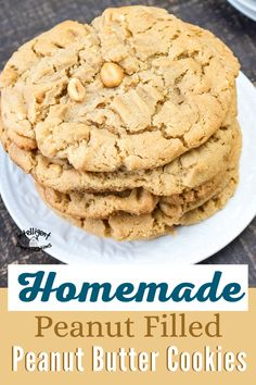 Enjoy this recipe for homemade peanut butter cookies filled with peanuts for a crunchy bite. Crunchy nuts in a chewy cookie. #peanutbuttercookie#desserts #peanutbutterday #homemade #peanutbutter #homemadecookies Peanut Recipes, Fudge Recipes, Chocolate Recipes, Dessert Recipes, Cod Recipes, Turkey Recipes, Crockpot Recipes, Easy Recipes, Salad Recipes