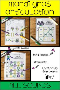 Mardi Gras Articulation Activities for all sounds! 3 activities included for each sound.