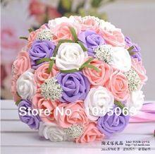 Hechos a mano colorido ramo de la boda para la novia, manojo de artificial PE rosas, elegante novia mano flores, que sostiene las flores, promoción(China (Mainland))