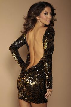 Black and Gold flip sequin backless dress Sparkly Dresses c612f6b44276