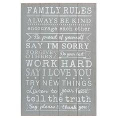 Cuadro de madera 40 x 60 cm FAMILY RULES