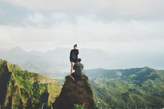 Mountain Top Proposal~Mountain Top Proposal: This couple hiked to the top of the Stairway to Heaven in Oahu to get engaged. With a lot of planning on his part and all the right puzzle pieces falling together, she was completely and happily surprised.