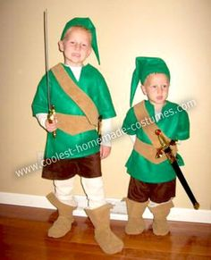 Homemade Link from Zelda Costumes: I sewed 14 costumes this year for my grandchildren.  No matter how we tried, we couldn't talk Kallan out of being Link from the Wii game, Zelda.  His brother,