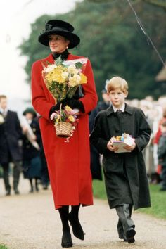 1993 - Princess Diana wore a red coat and black pumps on Christmas Day. REX Shutterstock