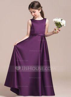 [US$ 77.49] A-Line/Princess Scoop Neck Floor-Length Satin Junior Bridesmaid Dress (009087890)