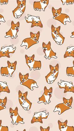 Wallpaper Cartoon Kawaii Iphone New Ideas Corgi Wallpaper Iphone, Dog Wallpaper, Kawaii Wallpaper, Animal Wallpaper, Aesthetic Iphone Wallpaper, Pattern Wallpaper, Wallpaper Backgrounds, Iphone Wallpapers, Screensaver Iphone