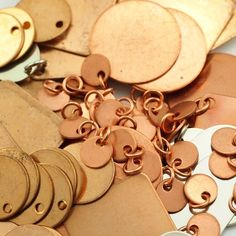 8 Stamping Blanks Discs Filed And Polished With Jump Rings 25mm Jewelry Grade Bronze Brass Nickel Silver Copper Antique Finishes Bronze W 1 Hole