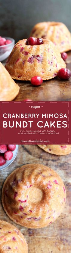 Celebrate the new year with a Cranberry Mimosa Bundt Cake. These mini cakes are spiked with your choice of bubbly - ginger ale, champagne, etc, are loaded with fresh cranberries, and are topped with a simple orange glaze.