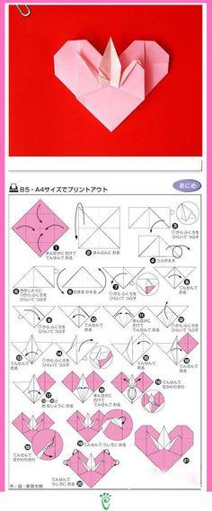 Tsuru in the heart origami Origami And Quilling, Origami And Kirigami, Origami Folding, Quilling Paper Craft, Paper Crafts Origami, Origami Box, Diy Paper, Heart Origami, Oragami