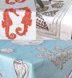 Coastal Design for the Home: You could start setting your beach table with an elegant hand printed linen table runner available at Outer Banks Trading Group and Isola Bella, or opt for a Beach Tablecloth like the one from Kohl's.