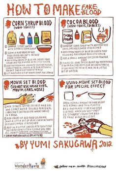 How to Make Realistic Looking Fake Blood     halloweencafts: For more cheap fake blood recipes go here: http://halloweencrafts.tumblr.com/post/32163655430/diy-edible-fake-blood-recipes