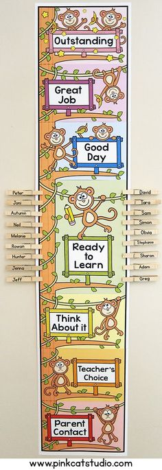 This adorable monkey theme editable behavior clip chart will look fantastic in your classroom!  Encourage your students to climb to the top of the monkey tree by making good choices. Great for a jungle animal or wild animal theme classroom. By Pink Cat Studio