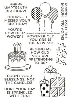 Create many fun and funny birthday cards with the Umpteenth Birthday stamp set by Technique Tuesday. Each set includes 13 acrylic stamps on a 4 Birthday Quotes For Him, Birthday Card Sayings, Birthday Sentiments, Birthday Gifts For Best Friend, Card Sentiments, Funny Birthday Cards, Birthday Ideas, Birthday Greetings, Birthday Fun