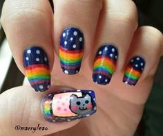 Nyan Cat nail art. Some people are so creative :)