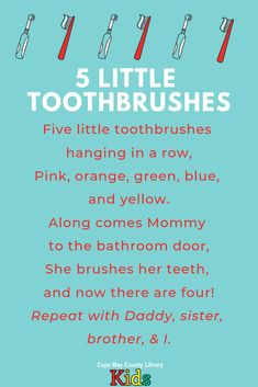 Preschool Poems, Kids Poems, Preschool Learning, Preschool Action Songs, Sequencing Activities, Teaching, Counting Songs, Songs For Toddlers, Dental Health Month