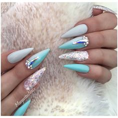 Blue And Grey Ombré Stiletto Nails  by MargaritasNailz