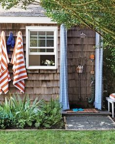 When we were kids, summer cottages on Cape Cod had this type of outdoor shower against the shingled cottage.