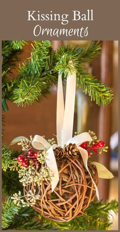 This kissing ball ornament, made with a grapevine ball, greens and berries, is a great way to bring the beauty of nature into your home.