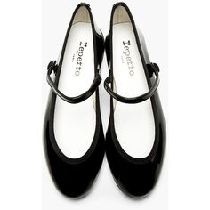 Repetto Black Patent Leather Lio Mary Jane Flats ($168) ❤ liked on Polyvore featuring shoes, flats, black strappy flats, black flat shoes, black mary jane shoes, black mary janes and black patent mary janes
