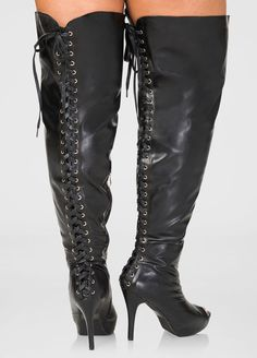 a71cfb88b71 Womens Plus Size Lace-Up Over The Knee Boots Wide Calf Wide Width Above Knee