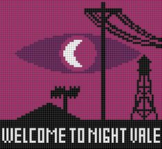 i made a pattern for a welcome to night vale cross stitch because im in love with it at the moment. its 71 squares high by 77 wide.