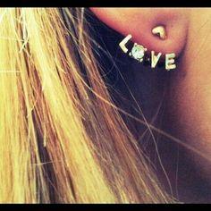 Rhinestone Heart Love Letter Earrings $3.50