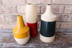 Vintage vase 3 piece set - primary colors: red yellow blue - home decor