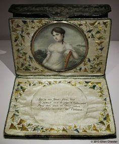 Blog 'With My Needle': August 2013 photo taken in the Tassenmuseum Hendrikje, Amsterdam (Letter case with love poem and miniature, France, 1806 The French miniature painter, Favorin Lerebours, painted this young woman's portrait. The leather and silk letter case containing her portrait and an embroidered love poem may have been presented to her husband as a remembrance for their long periods of separation.)