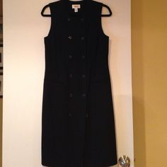Talbots black dress Very cute on, buttons all down the front and fake pockets for style! Great for work!! Talbots Dresses