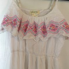 White Maxi Dress with Colorful Embedding White, Sleeveless Maxi Dress with Pink, Blue and Yellow Embedding Dresses Maxi