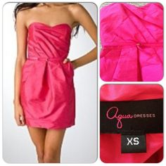 Pink ⚡️HOST PICK 2/5/14 by jessicanaomi for the All Glammed Up Party! Bright pink strapless cocktail dress from Aqua. Boned bodice, thin belt cinches at waist, hidden back zip closure. Gorgeous and practical - has side pockets! Worn once. In like new condition. Aqua Dresses Mini