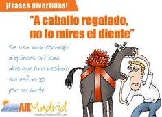 Expresión A Caballo regalado.. http://ailmadrid.tumblr.com/ The Christmas period is getting closer and closer and lots of gifts are expected to come. Here's a typical Spanish expression about gifts (not just material ones) :D