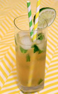 Thé glacé au gingembre, citron vert et menthe fraîche