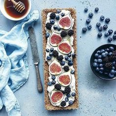 This and berry tart is a welcome sight for With a whole grain crust and a whipped cream and mascarpone filling, this is the perfect treat to celebrate this season's bounty. Cooking With Honey, Berry Tart, Tasting Table, Some Recipe, Something Sweet, Food 52, I Foods, Sweet Tooth, Food Photography