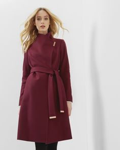 Long wrap coat - Oxblood | Jackets & Coats | Ted Baker ROW