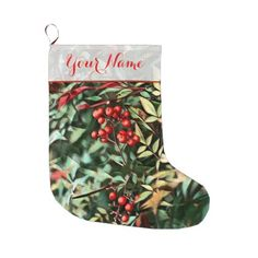 Christmas Berries Large Christmas Stocking - diy cyo customize create your own personalize