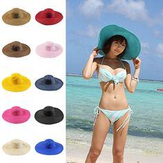 Hat Large Floppy Sun Cap Straw Wide Beach Women Brim Summer FoLding Lady #UnbrandedGeneric
