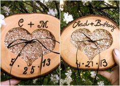 Rustic wedding ring pillow bearer wooden holder by MomoRadRose, $30.00