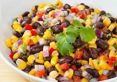 Black Bean Salad-•1 C corn •2 cans (16 oz) black beans, rinsed, drained •1/4 C chopped fresh parsley •2 T minced red onions •1/4 C balsamic vinegar •2 T EVOO•1 t lemon juice •1 t minced garlic •1 t honey or brown  sugar •salt •pepper •lettuce:  Marinate corn, beans, parsley, onions, vinegar, oil, lemon juice, garlic, & honey or brown sugar for 30 min. @Erica Mardis Moo temp. Add salt & pepper.