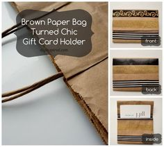 Reuse, Repurpose, Recycle! How to make this chic DIY Repurposed Gift Card Holder out of a brown paper bag and Washi tape.