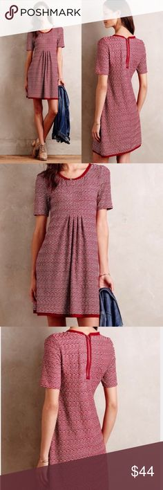 "Anthropologie Maeve Dora Chiffon Shift Dress Maeve Dora Textured Dress. Excellent pre-owned condition. No rips, holes or stains! Approximate measurements: 18.5"" pit to pit unstretched stretched comfortably to 23"" 35"" long Dresses"