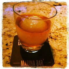 Florida Cana Rum with Marina Kitchen's famous ice sphere! #SanDiego #restaurant #cocktail