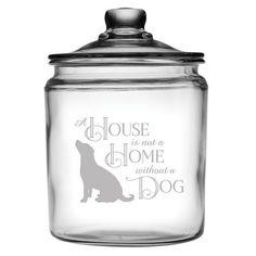 Kitchen Canister Sets, Kitchen Canisters, Kitchen Labels, Glass Canisters, Dog Food Storage, Jar Storage, Dog Crafts, Animal Crafts, Dog Treat Jar