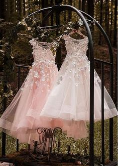 Buy discount Unique Tulle & Elasticated Net Bateau Neckline Ball Gown Flower Girl Dresses With 3D flowers & Hot Fix Rhinestones at Laurenbridal.com