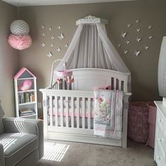 Crib canopy Bed Tester bed Teester bed crown canopy bed pink and grey nursery grey nursery Bed Crown Canopy, Baby Canopy, Canopy Bedroom, Baby Bedroom, Baby Room Decor, Nursery Room, Cot Canopy, Ikea Canopy, Window Canopy