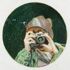 """The Observer,"" original portrait painting by artist  Evalie Wagner (Australia) available at Saatchi Art #SaatchiArt"