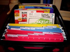workbox crate- consider how this could work to incorporate chores with independent schoolwork School Plan, School Schedule, Workbox System, File System, Home Schooling, Classroom Organization, Organizer, Getting Organized, Homeschool